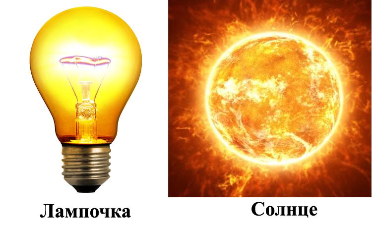 Лампочка и солнце