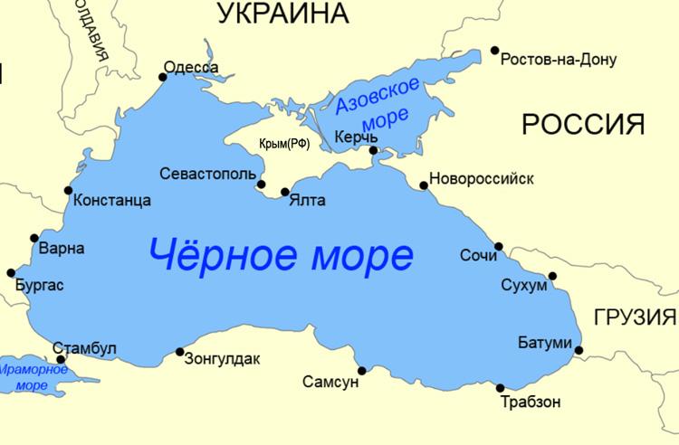 Черное и Азовское море на карте