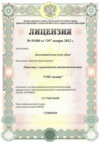 Пример лицензии
