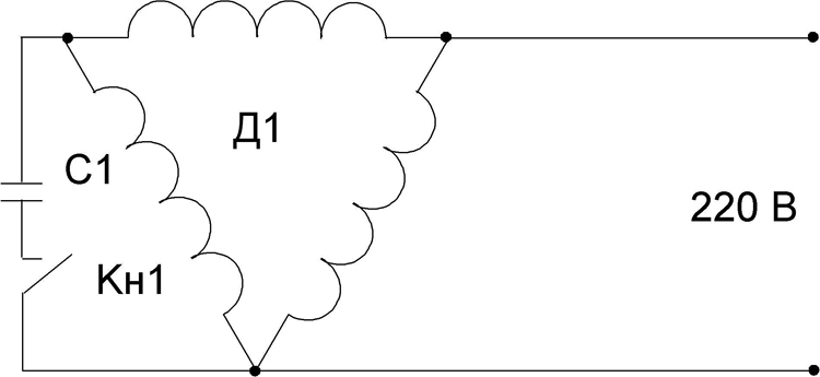 Схема подключения пускового конденсатора к асинхронному двигателю