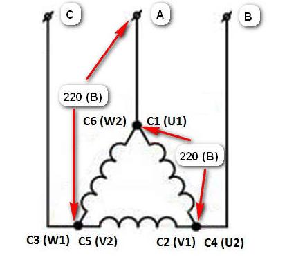 Соединение обмоток в треугольни
