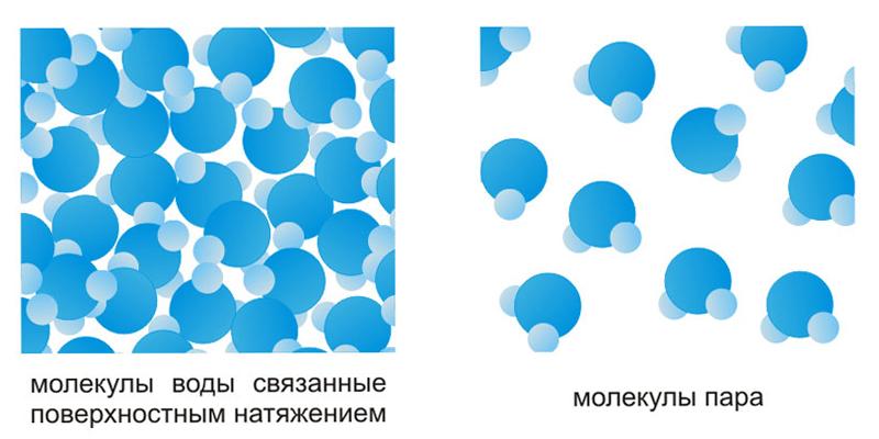 Молекулы воды и пара