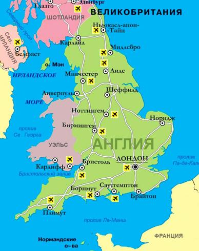 Англия на карте