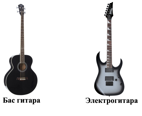 Бас гитара и электрогитара