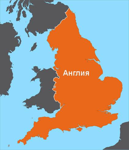 Англия на карте Великобритании