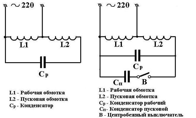 Схема с рабочим и пусковоым конденсаторами