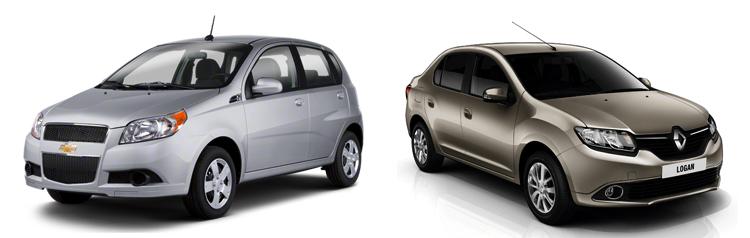 Chevrolet Aveo и Renault Logan