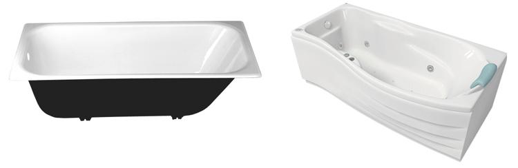 Чугунная и акриловая ванны