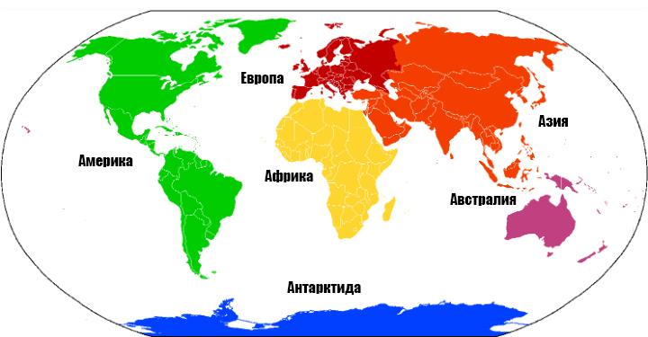 6 континентов
