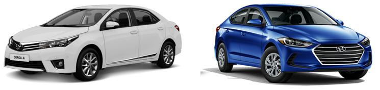 Toyota Corolla и Hyundai Elantra