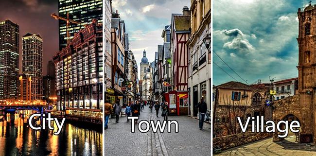 City, town, village