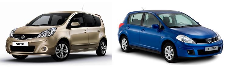 Nissan Note и Nissan Tiida