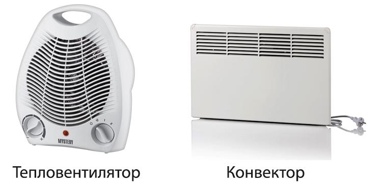 Тепловентилятор и конвектор