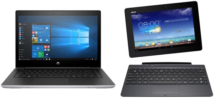 Ноутбук и планшет с клавиатурой