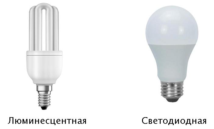 Люминесцентная и светодиодная лампа