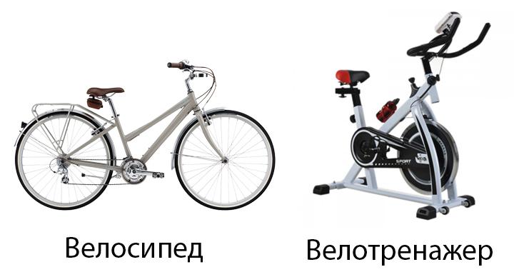 Велосипед и велотренажер