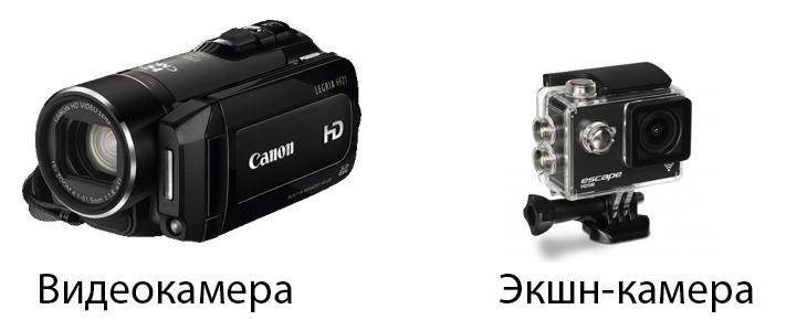 видеокамера и экшн-камера