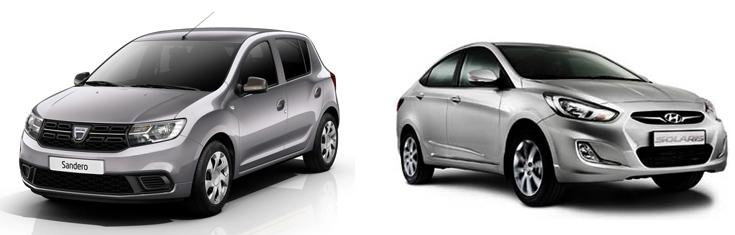 Renault Sandero и Hyundai Solaris