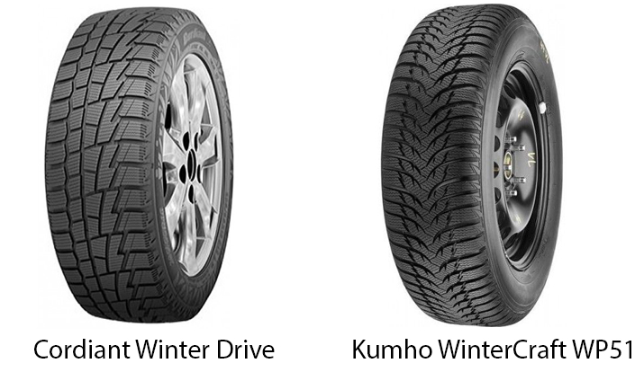 Cordiant Winter Drive и Kumho WinterCraft WP51