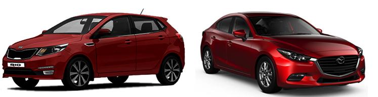 Kia Rio и Mazda 3