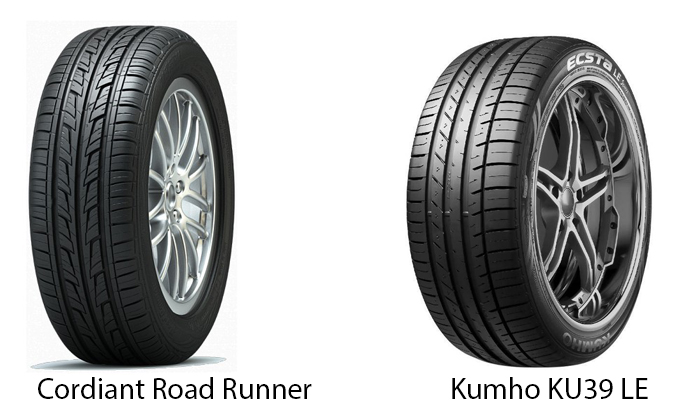 Cordiant Road Runner и Kumho KU39 LE