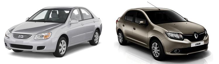 Kia Spectra и Renault Logan