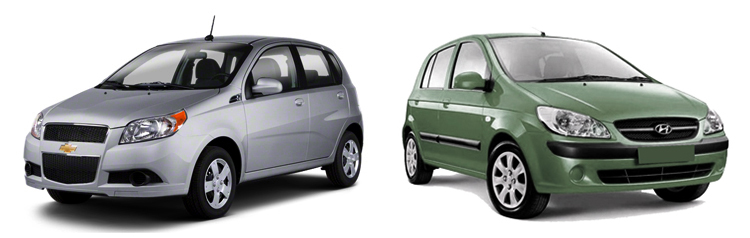 Chevrolet Aveo и Hyundai Getz