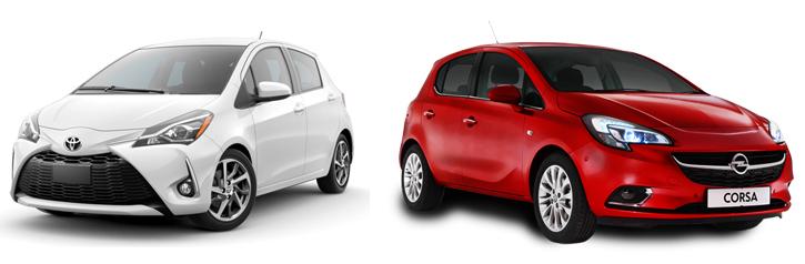 Toyota Yaris и Opel Corsa