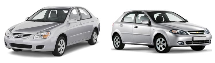 Kia Spectra и Chevrolet Lacetti