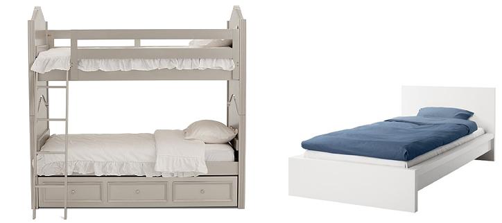 Двухъярусная и обычная кровать