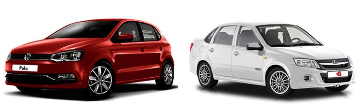 Volkswagen Polo и Lada Granta