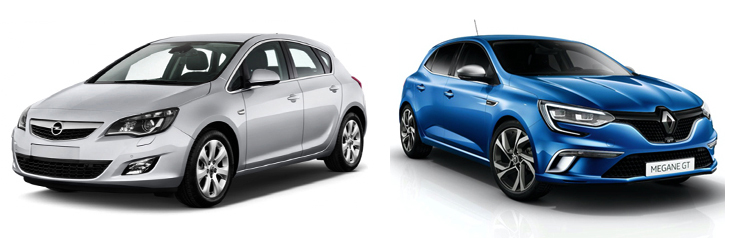 Opel Astra и Renault Megane
