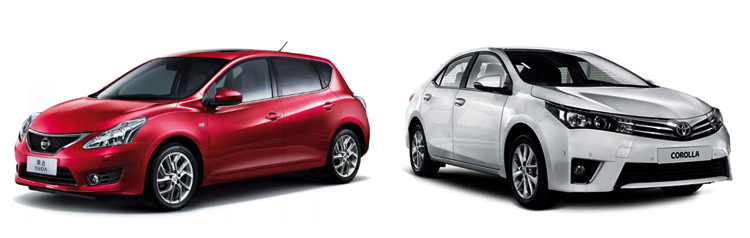 Nissan Tiida и Toyota Corolla