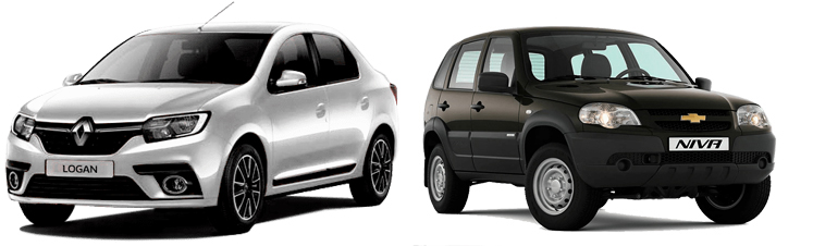 Renault Logan и Chevrolet Niva