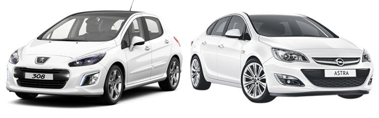 Peugeot 308 и Opel Astra