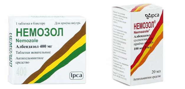 Таблетки и суспензия Немозол