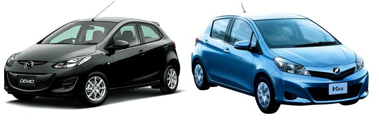 Mazda Demio и Toyota Vitz