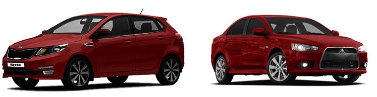 Kia Rio и Mitsubishi Lancer